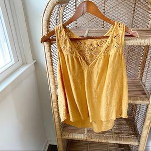Yellow Boho Floral Swing Cotton Tank Top✨